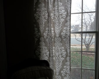 Berlin Taupe and white curtains