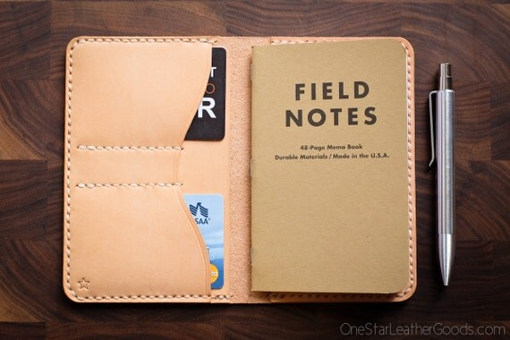 "Field Notes wallet, ""Park Sloper No Pen,"" notebook cover - natural veg leather"