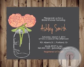 Bridal Shower Invitation, Mason Jar Invitation, Bridal Shower invite, Printed Invitations, Invitation Printable, coral melon peonies, 1700