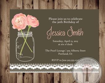 vintage lace birthday invitation, mason jar invitation, elegant, adult birthday, 30th birthday, 40th, 21st birthday, party invitation, 1119