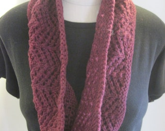 Hand Knit Lace Burgundy Cowl