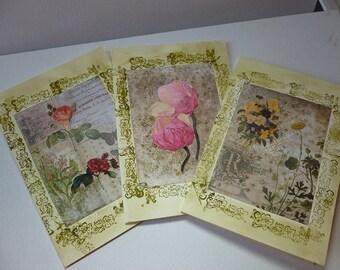 Handmade vintage effect cards.