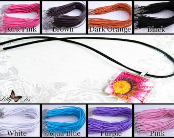 """25- 18"""" Flat Suede Leather Cord Necklace with 2""""adjustable extension."""