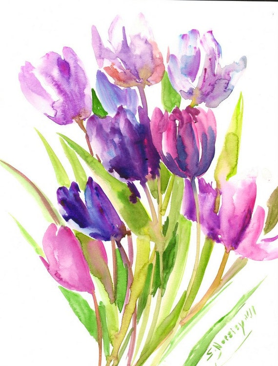 Purple Tulips Painting Original Abstract Floral Art 14 X 11