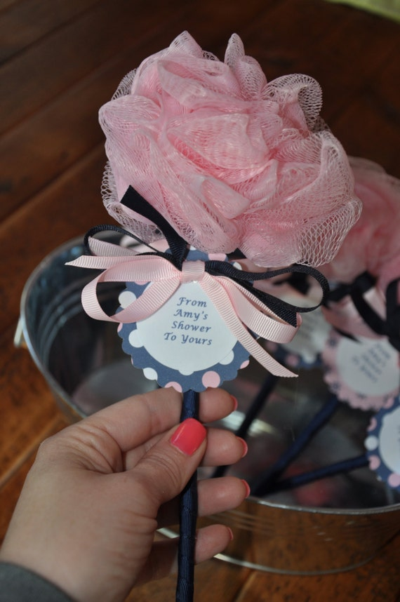 Nautical Pink And Navy Unique Baby Shower Favor Bath Puff Baby
