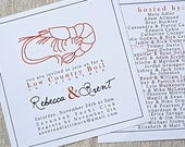 Low country boil shrimp, wedding couples shower, engagement party invitations