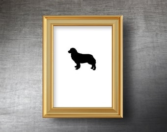 Bernese Mountain Dog Wall Art 5x7 - UNFRAMED Hand Cut Bernese Mountain Dog Silhouette Portrait - Personalized Name or Text Optional