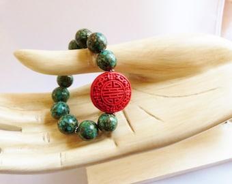 Mosaic TURQUOISE and CINNABAR Bracelet