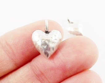 2 Chunky Hammered Plump Heart Charms - Matte Silver Plated