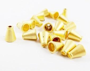 20 Mini Cone Round Bead caps - 22k Matte Gold Plated
