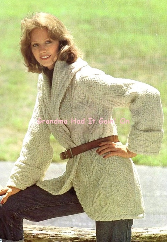 Vintage Aran Cardigan Knitting Pattern : Aran Cardigan Knitting Pattern Vintage Sweater Coat Wrap