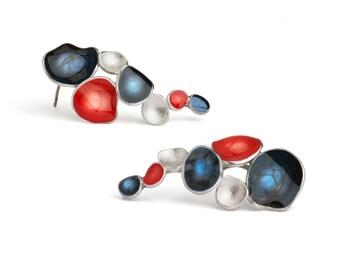 blue and red silver earrings studs  - cascading earrings for women - dark blue earrings - enamel jewelry - european statement jewelry