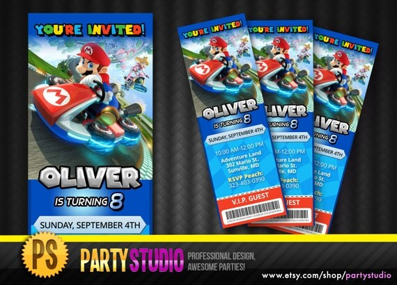 mario kart 8 birthday ticket invite customizable printable
