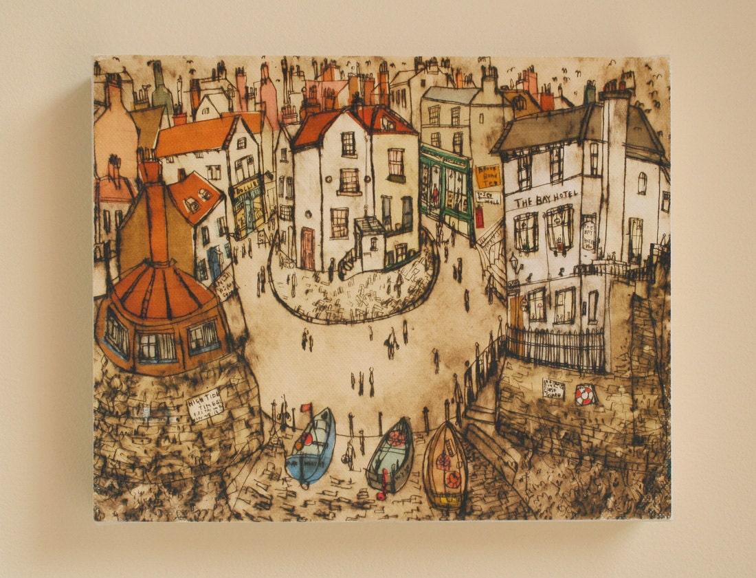 Robin hoods bay north yorkshire coast canvas print by artist