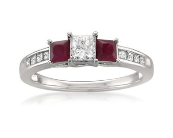 14k White Gold Princess-cut Three-Stone Diamond & Red Ruby Engagement Ring (1 1/7 cttw, H-I, I1-I2)
