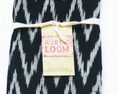 Tea Towel- Handwoven Black Grey Ikat Cotton Zig Zag