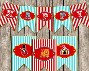 Vintage Circus Carnival Personalized Party Banner - Red & Blue - Carnival Circus Birthday Party - DIY Printable