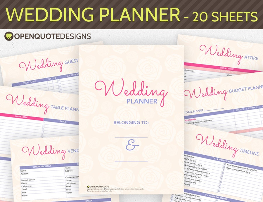 Printable wedding planner organizer printable by for Diy wedding binder templates