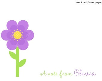 Purple Flower Note Cards Set of 10 personalized flat or folded cards