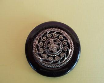 Vintage Big Black and Silvertone Round Button