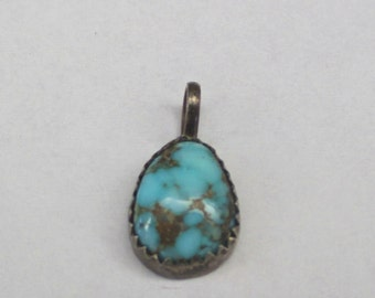 CHILDS PENDANT Native American Made Sterling Turquoise Vintage