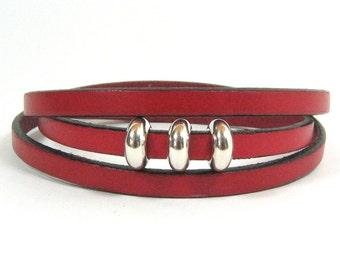 Triple Strand Red 5mm Flat Leather Wrap Bracelet with Silver Sliders and Antique Silver Magnetic Clasp (5F-288)