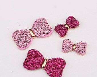 2 Pieces Bows Alloy Rhinestone Bling Bling Decoden Piece for your craft projects