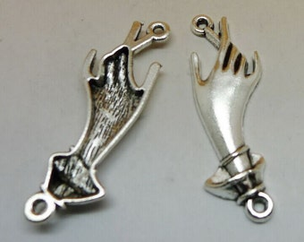 15pcs Hand Charms, 14x43mm Antique Silver Tone Hand Charms Connectors, Hand Charms Pendant