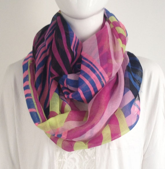 items similar to pink stripe infinity scarf on etsy