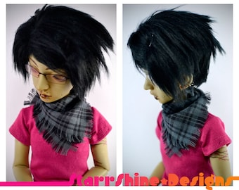 BJD MSD 1/4 Doll Accessories - Grey and Black Plaid Handkerchief Scarf