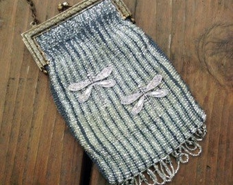 Art Deco Dragonfly Knitted Bead Purse