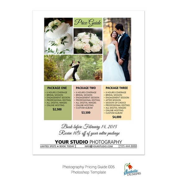 Price List | Price Guide Photoshop Template 005 for Professional Photographers