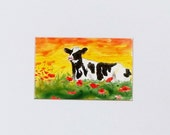 Cow Poppy's Sunset art print on photo paper approximately 6 x 4 colorful black and whit cow red poppy's pretty sky artbyevelynmarie