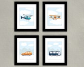 Transportation Nursery Art - Airplane Wall Art, Helicopter Print, Car Print, Bus Artwork - Children's Room Decor - Set of 4 Vehicle Prints