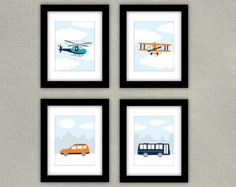PRINTABLE - Transportation Nursery Art - Airplane Wall Art, Helicopter Print, Car Print, Bus Artwork - Children's Room Decor