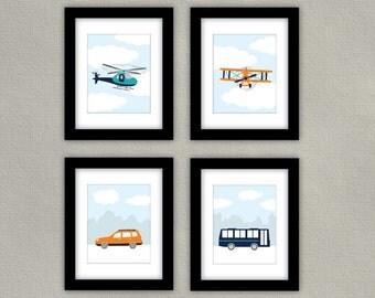 PRINTABLE - Transportation Nursery Art - Airplane Wall Art, Helicopter Print, Car Print, Bus Artwork - Children's Room Decor