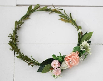 Multi Colored Pastels with Greenery Flower Crown