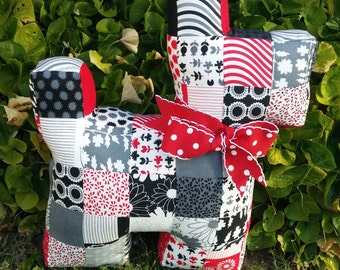 """Patchwork Scottie dog in from """"Weeds"""" fabric by Me and My Sister - birthday, wedding, anniversary, graduation, christening, baby shower....."""