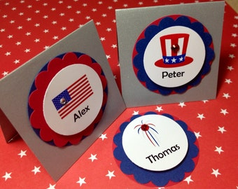 12 Fourth of July Place Cards, PERSONALIZED, July 4th, Memorial Day, Veterans Day, Independence Day, Flag Placecards, DesignsbyAliA