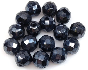 20 Black Gunmetal Czech Round Glass Beads Faceted 10mm