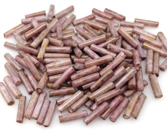 10 Grams Pink Tan Czech Glass Bugle Beads (9x2mm)