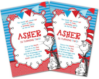 Cat In The Hat invitation, Dr. Seuss invitation, Thing 1 Thing 2, Dr. Seuss, Cat in the Hat, Birthday Invitation, Girls Boys Birthday (C4)