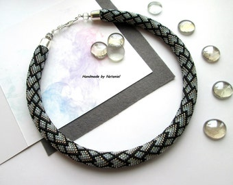 "Bead Crochet Necklace ""Scales"" grey black white for her made to order"