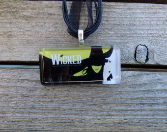 Broadway Musical Wicked Rectangle Glass Pendant and Ribbon Necklace