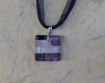 Broadway Musical Sign Times Square Glass Pendant and Ribbon Necklace