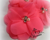 Neon Pink Flowers - Unique Spring Flowers with Rhinestone center Embellishements, Headband Supplies, Wholesale Crafting Supplies