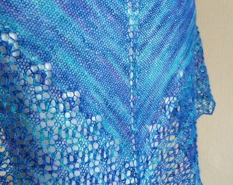 Hand Knitted Lace Triangle Scarf / Shawl