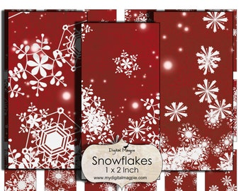 1 x2 inch snowflake images  Digital Collage sheet for Christmas pendant jewelry winter snow printable red white