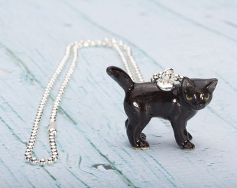 Black Cat Necklace -  Pendant Necklace - China Animal Necklace -Black Cat - Jewelry - Animal Jewellery - Miniature Black Cat  Halloween Cat
