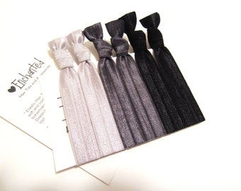 The BLACK & GREY Soft Elastic Hair Tie 6-Pack, No Crease, Ponytail Holder, Fold Over Elastic, Ribbon Hair Tie, Emi Jay Style - By Enchanted